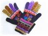アルパカ手編み手袋 花