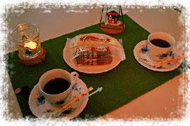 シフォンケーキとコーヒーのセット